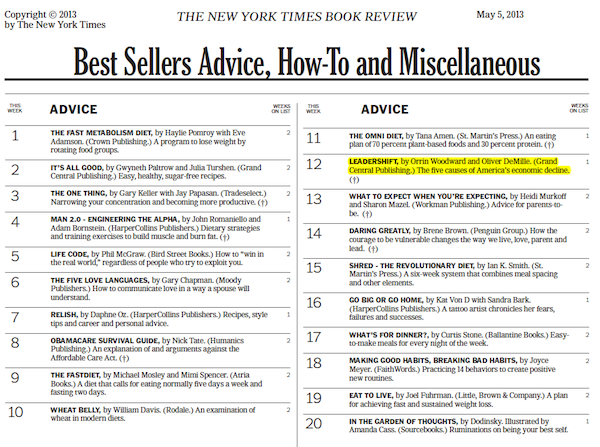 leadershift new york times LeaderShift Hits the New York Times Bestsellers List