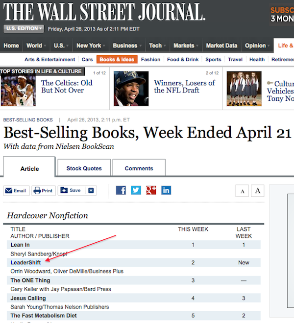 leadershift wsj LeaderShift Hits #2 on Wall Street Journal